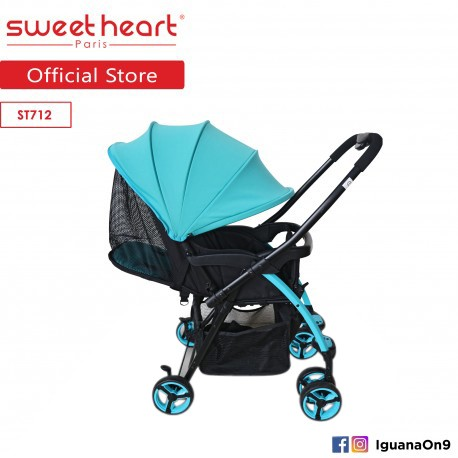 Sweet Heart Paris ST712 Lightweight Stroller (Capri Blue) with Reversible Handlebar\''