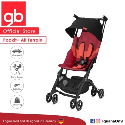 [Official Store] 2019 gb Pockit Plus All-Terrain (Rose Red) - World Lightweight Cabin Size Stroller with Reclining Seat