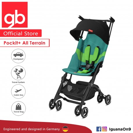 gb Pockit Plus All-Terrain (Laguna Blue) - World Lightweight Cabin Size Stroller with Reclining Seat [Official Store] 2019