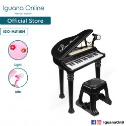 Iguana Online Miniature Learning Musical Electronic Organ Piano Keyboard with Recordable Microphone MU1504 (Black)