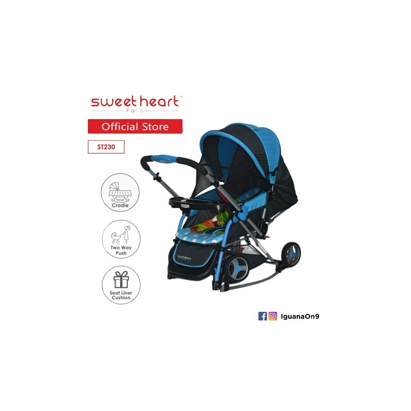 2a576d3ba5 Sweet Heart Paris Aluminium 2IN1 Stroller + Rocker Cradle ST230 (Blue)  Bundle with Mosquito. Loading zoom