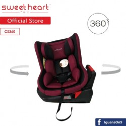 Sweet Heart Paris CS360 Swivel Baby Car Seat (Red) with 360 Degree Rotation and ISOFIX
