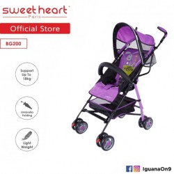 'Sweet Heart Paris BG200 Umbrella Stroller Buggy (Purple) with Steel Frame and Back-Rest Reclining'