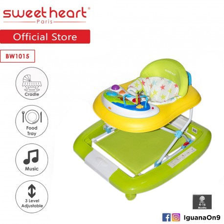 Sweet Heart Paris Baby Walker Rocker BW1015 (Green) With Music and Food Tray
