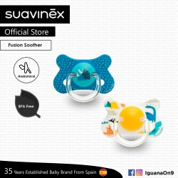 Suavinex BPA Free 18+ Months Fusion Anatomical Soother Pacifier Set (Yellow Dino + Blue Triceratops)