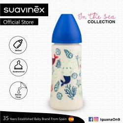 'Suavinex In The Sea Collection BPA Free 360ml Wide Neck Baby Feeding Bottle with Anatomical Teat (Blue Mermaid)'