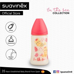 'Suavinex In The Sea Collection BPA Free 270ml Wide Neck Baby Feeding Bottle with Anatomical Teat (Pink Mermaid)'