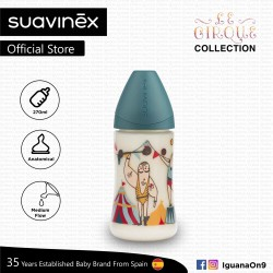 'Suavinex Circus Collection BPA Free 270ml Wide Neck Baby Feeding Bottle with Anatomical Teat (Strong Man)'