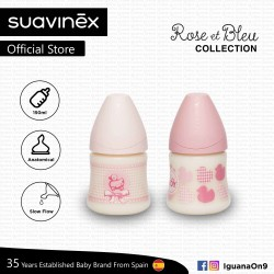 Suavinex Rose and Blue Collection BPA Free 150ml Wide Neck Baby Feeding Bottle with Anatomical Teat (Pink Random Pattern)