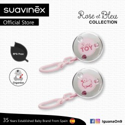 Suavinex Rose and Blue Collection BPA Free Round Jewel Soother Pacifier Clip Toys (Pink)