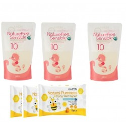 K-MOM Natural Pureness Feeding Bottle Cleanser Refill Pack (3 Packs) 500ml + Free 10pcs Wet Tissue 3 Packs