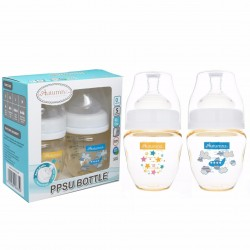 Autumnz PPSU Wide Neck Feeding Bottle (4oz/120ml) - Starry Sparkle / Fly With Me *Twin Pack*