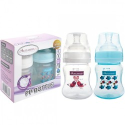 Autumnz PP Wide Neck Feeding Bottle (4oz/120ml) - Tweety / Marine Blue *Twin Pack*