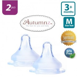 Autumnz MAXY Soft Silicone Teat MEDIUM Flow *2pcs* (3+ months / Round Hole)