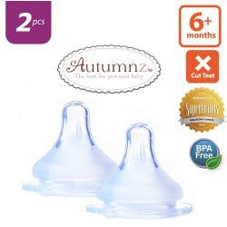 Autumnz MAXY Soft Silicone Teat FAST Flow *2pcs* (6+ months / X-Cut)