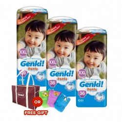 Genki! Pants MEGA XXL36 (3 Packs) (FREE Mamabag or Diaper Pouch)
