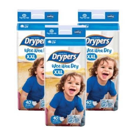 Drypers Wee Wee Dry Mega (XXL40) (3 Packs) + Free Shipping (Pen. Malaysia only)