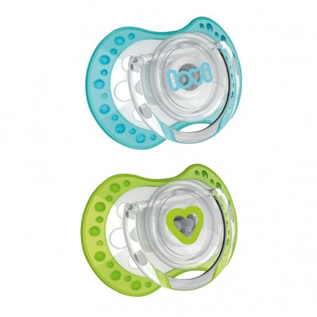 LOVI 2PCS DYNAMIC SOOTHER (SPARK) 6-18M-Blue & Green