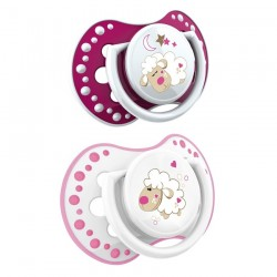 'Lovi 2Pcs Dynamic Soother Glow In The Dark (N and D) 0-3m - Pink With Glow In The Dark'