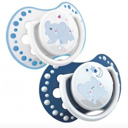 'Lovi 2Pcs Dynamic Soother glow In The Dark (N and D) 3-6m - Blue With Glow In The Dark'