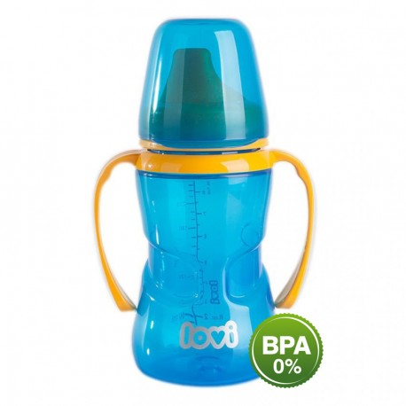 LOVI 250 ml non-spill firm spout 12+month-blue