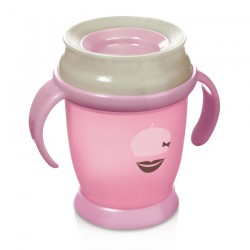 Lovi 360 cup RETRO with handles  (210 ml) MINI-pink