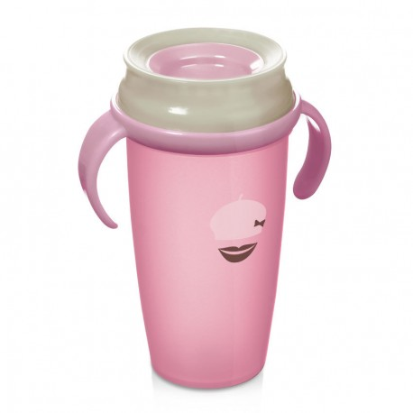 Lovi 360 cup RETRO with handles  (250 ml) ACTIVE - pink