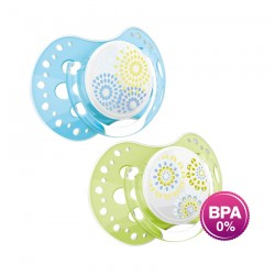 'Lovi 2Pcs Dynamic Soother (Trendy) 0-3m - Blue  and  Green'