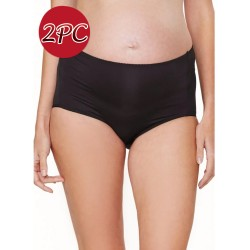 Mamaway Maternity Anti-bacterial High-rise Brief Panties Underwear ( 2pc/ pack ) Black