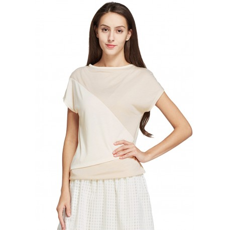Mamaway Soft Metallic Double Layer Maternity & Nursing Top (Blanched Almond)