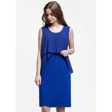 Mamaway Chiffon Layers Sleeveless Maternity & Nursing Dress (Blue)