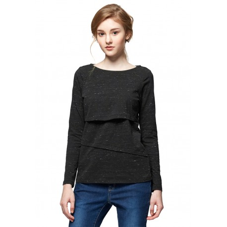 Mamaway Marble Maternity & Nursing Long Top (Black)