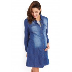 Mamaway Maternity & Nursing Denim Shirt Dress (Dark Blue)
