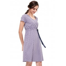 Mamaway Dainty Dots Maternity & Nursing Pajama Dress with Ribbon (Purple)