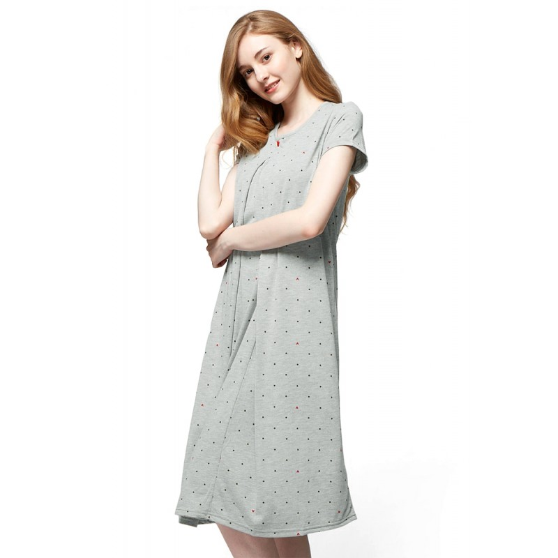 Mamaway Mickey Dotty Maternity   Nursing Pajama Dress (Grey). Loading zoom 140a2c371e