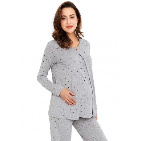 Mamaway Mickey Dotty Maternity   Nursing Pajamas   Sleepwear Set (Grey) 90f136df20