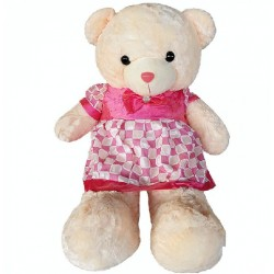 Maylee Big Plush Teddy Bear with Skirt Dark Pink 100cm