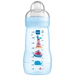 MAM Baby Bottle 270ml (Silk Teat size 2) - Single Pack Blue