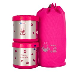 BUBEE M1000B Double Layer Vacuum Lunch Box 0.5L X2 (Pink)