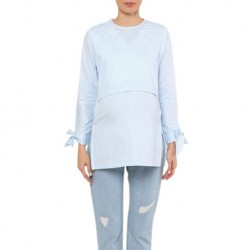 Mumsluv Tania Nursing Blouse in Aqua Blue