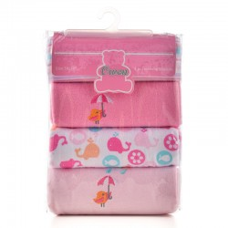 OWEN Baby Receiving Blankets, 4 Piece Set (PINK)