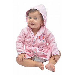 OWEN Baby Bathrobe and Booties Set (PINK)
