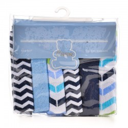 OWEN Baby Knit Washcloth, 6 Piece Set (BLUE)