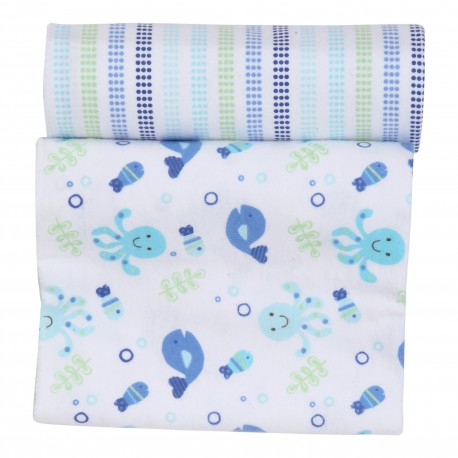 OWEN Baby Receiving Blankets, 2 Piece Set (BLUE)