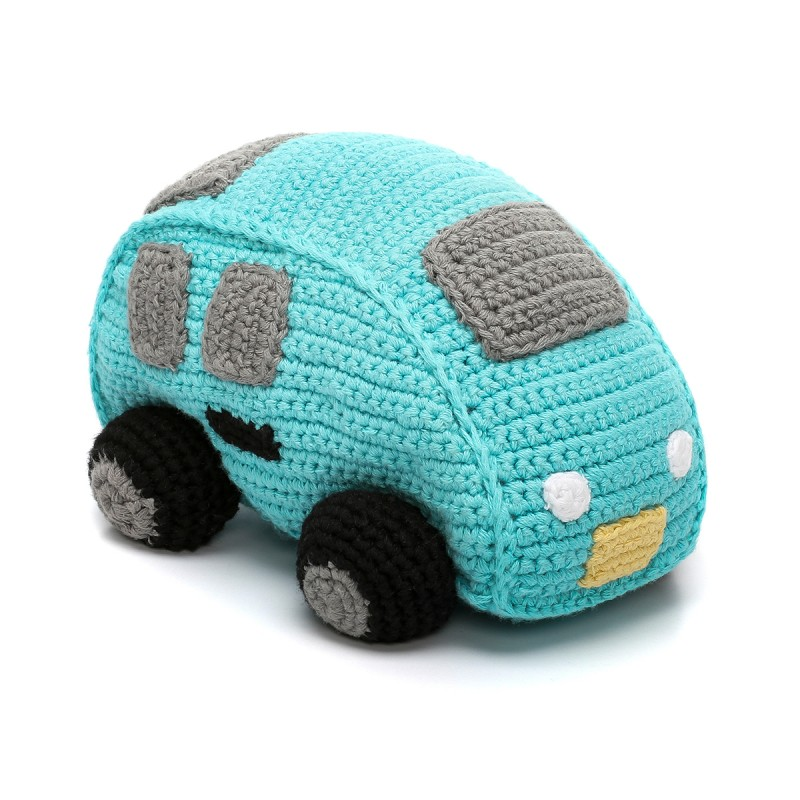 Pebble Rattles Car Turquoise Gears