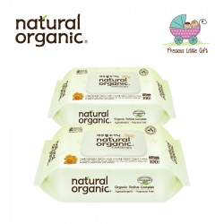 Natural Organic Baby Wipes - Original Plain 100 Captype Sheets (2 Packs)