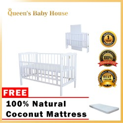 Royalcot R295 Multi Function Wooden Babycot Foldable (White) with Height Adjustable FREE 100% Natural Coconut Mattress