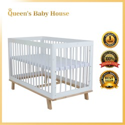Royalcot R496 Multi Function Wooden Baby Cot (White) with Height Adjustable Layer