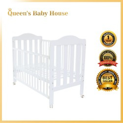 Royalcot R8312 Multi Function Wooden Large Baby Cot (white) with Height Adjustable Layer