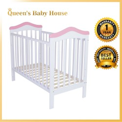 Royalcot R490 Multi Function Wooden Baby Cot (White Pink) with Height Adjustable Layer